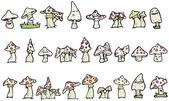 Mushrooms cartoon collection (raster version) — Stock Vector