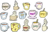 Coffee mugs and tea cups cartoon collection (raster version) — Stock Vector