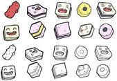 Junk food cartoon collection (raster version) — Stock Vector