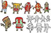 Tribal men cartoon collection (raster version) — Stock Vector