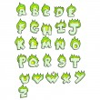 Stock Vector: Flaming green alphabet set