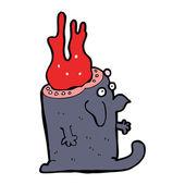 Dibujos animados horrendo monstruo con cabeza de sangre — Vector de stock