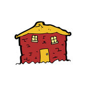 Tumbledown old red house cartoon — Stock Vector