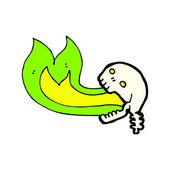 Green fire breathing skull cartoon — Vector de stock