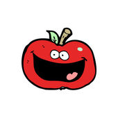 Happy red apple cartoon — Vector de stock