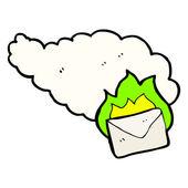 Cartoon burning letter — Stockvektor
