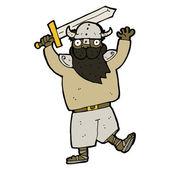 Cartoon viking warrior — Stock Vector