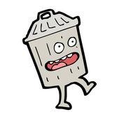 Cartoon trash can character — Stock Vector