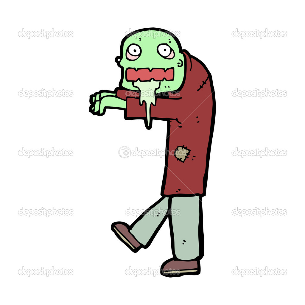 Cartoon zombie in red coat — Stock Vector © lineartestpilot #13134449