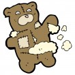 Torn teddy bear toy cartoon — Vector de stock #13566634