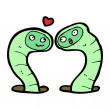 Stock Vector: Cartoon snakes in love