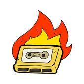 Quema de cinta de cassette retro — Vector de stock