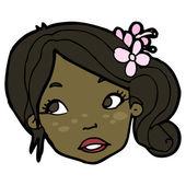 симпатичная женщина лицо мультфильм — Cтоковый вектор