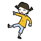Cartoon girl pointing and laughing — 图库矢量图片