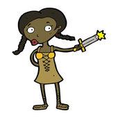 Medieval warrior girl cartoon — Stock Vector