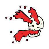 Gross blood spurting halloween skull cartoon — Stock Vector