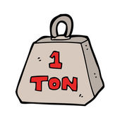 One ton weight cartoon — Stockvektor