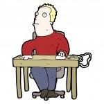 Bored man at desk cartoon — Stock Vector