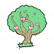 Cartoon tree with hearts — 图库矢量图片