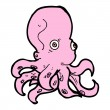 Cartoon pink octopus — Stock Vector