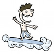 Cartoon man enjoying surfing - Stock Vector
