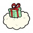 Open Christmas Present Gift Box On A Cloud — Stock Vector