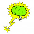 Stock Vector: Glowing brain cartoon
