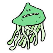 Cartoon nervous jellyfish — Stock Vector