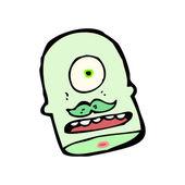 Glad avhuggna monster head cartoon — Stockvektor