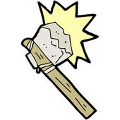 Cartoon primitive stone axe — Vector de stock