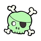 Teschio pirata verde con un sanguinamento zoccolo dell'occhio — Vettoriale Stock