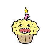 Laughing birthday cupcake cartoon — Stock Vector