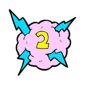 Cartoon lightning bolt storm cloud number 2 — Stockvector