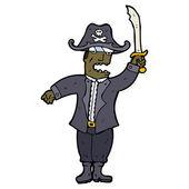 Capitano pirata feroce dei cartoni animati — Vettoriale Stock