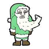 Znudzony zielony Mikołaj kreskówka — Wektor stockowy