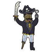 Divoký kreslený pirát kapitán — Stock vektor