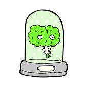 Brain floating in jar cartoon — Stock Vector