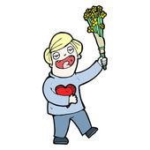 Cartoon man on first date — Stock Vector