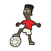 Niño feliz de dibujos animados con el fútbol — Vector de stock