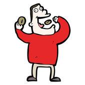 Cartoon man essen donuts — Stockvektor