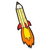 Pencil rocket cartoon — Stock Vector