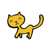 Happy little yellow cat cartoon — Stock Vector