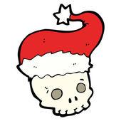 Kreskówka straszny czaszka w kapeluszu boże narodzenie — Wektor stockowy
