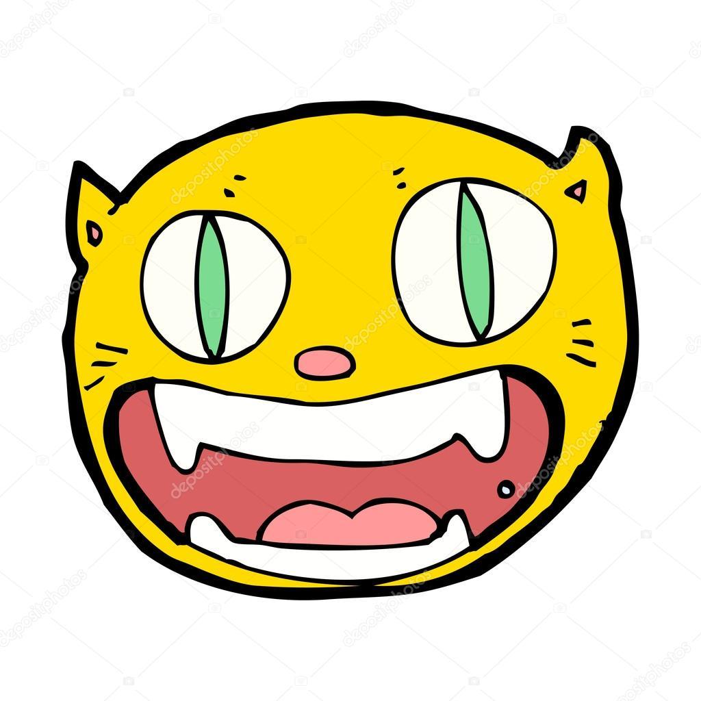 Faccia di gatto cartone animato divertente — vettoriali