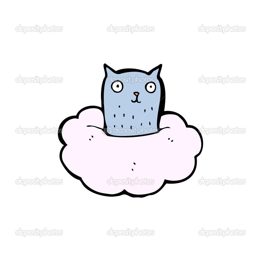 Cloud Cartoon Drawing Cat Sitting on Cloud Cartoon