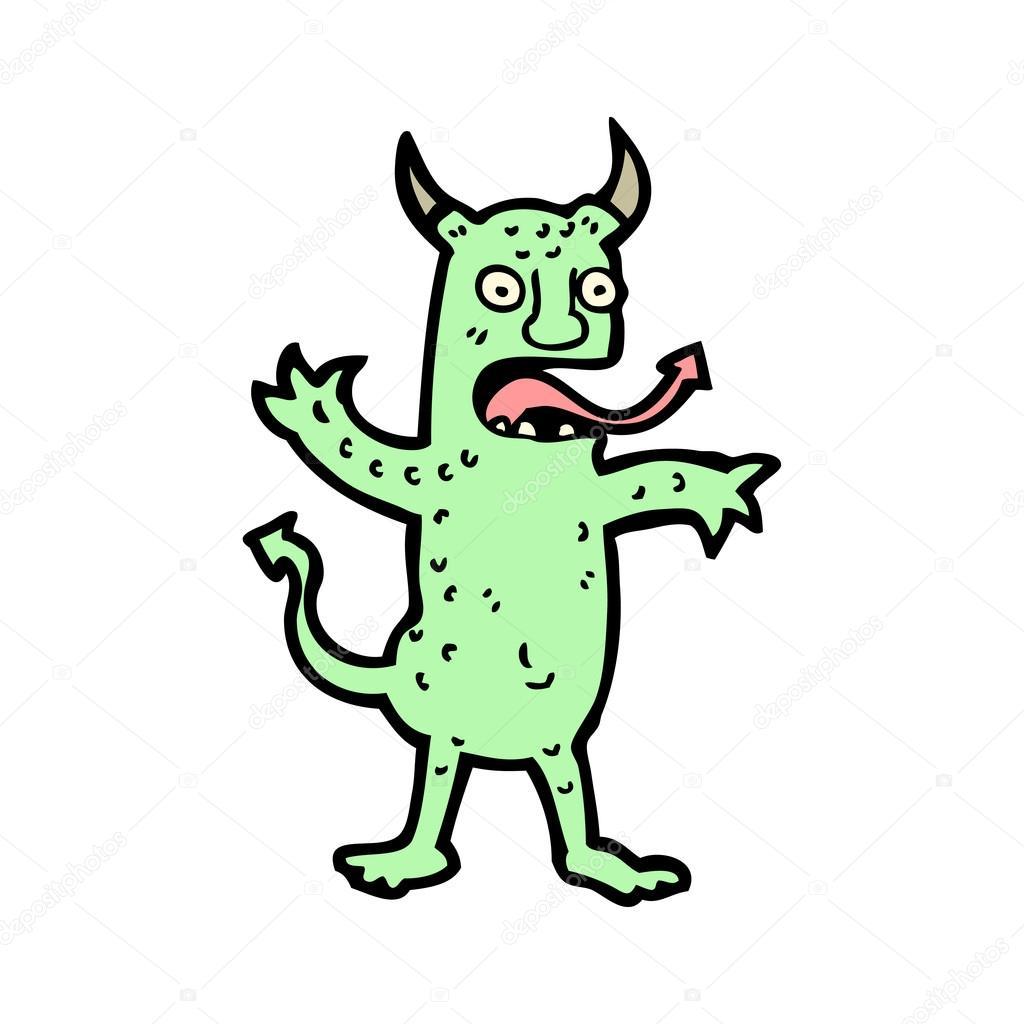 卡通绿色魔鬼— 矢量图片作者