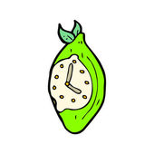 Surreal lime clock cartoon — Stock Vector