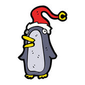 Festive Xmas Penguin Wearing A Santa Hat — Vector de stock