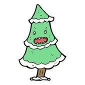 Pratende kerstboom cartoon — Stockvector