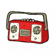 Stock Vector: Retro cassette player cartoon